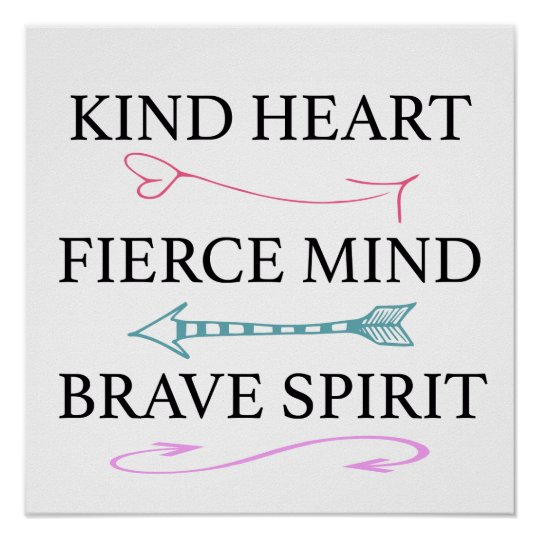 Kind Heart, Fierce Mind, Brave Soul Wall Art