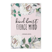 Kind Heart Fierce Mind Watercolor Floral and Name