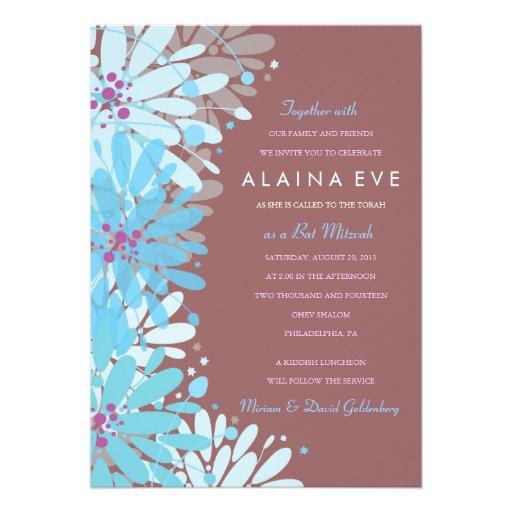 KINDA BLUE FLOWERS Bar Bat Mitzvah Invitation