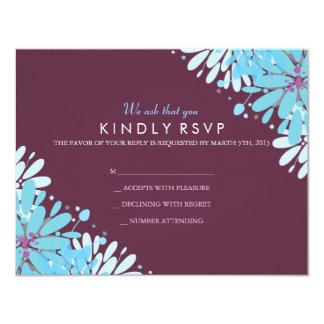 KINDA BLUE FLOWERS Wedding Reply Card