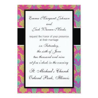 kinda hippie bright damask 13 cm x 18 cm invitation card