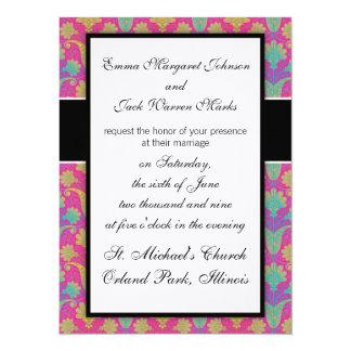 kinda hippie bright damask 14 cm x 19 cm invitation card