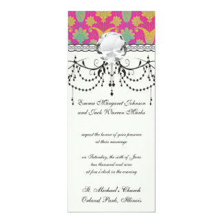 kinda hippie damask 10 cm x 24 cm invitation card