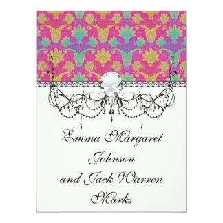 kinda hippie damask 17 cm x 22 cm invitation card