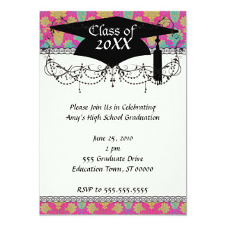 kinda hippie damask graduation 11 cm x 16 cm invitation card