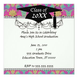 kinda hippie damask graduation 13 cm x 13 cm square invitation card