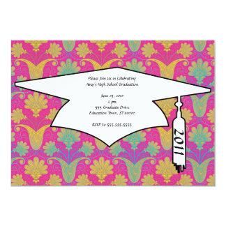 kinda hippie damask graduation 13 cm x 18 cm invitation card