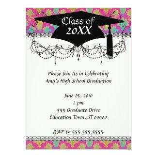 kinda hippie damask graduation 17 cm x 22 cm invitation card