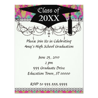 kinda hippie damask graduation custom announcement
