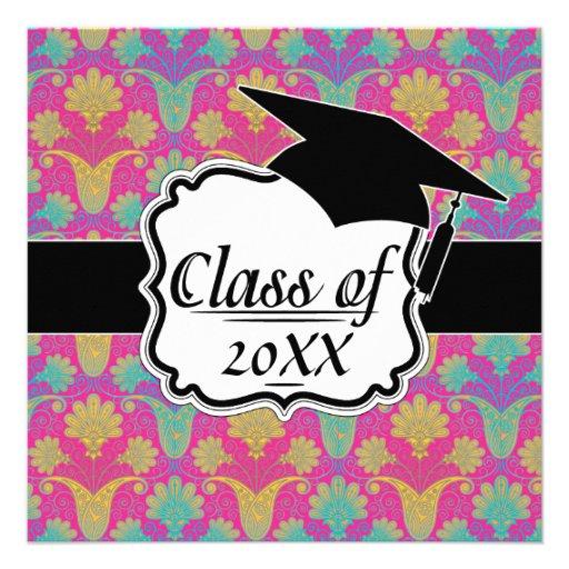 kinda hippie damask graduation custom announcements