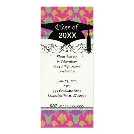 kinda hippie damask graduation personalized invites
