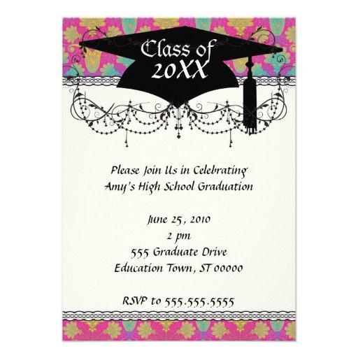 kinda hippie damask graduation announcement