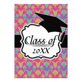 kinda hippie damask graduation personalized announcement