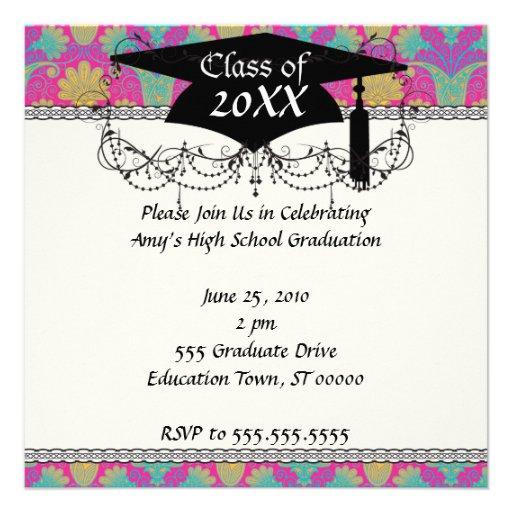 kinda hippie damask graduation personalized invite