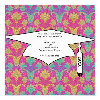 kinda hippie damask graduation custom invites
