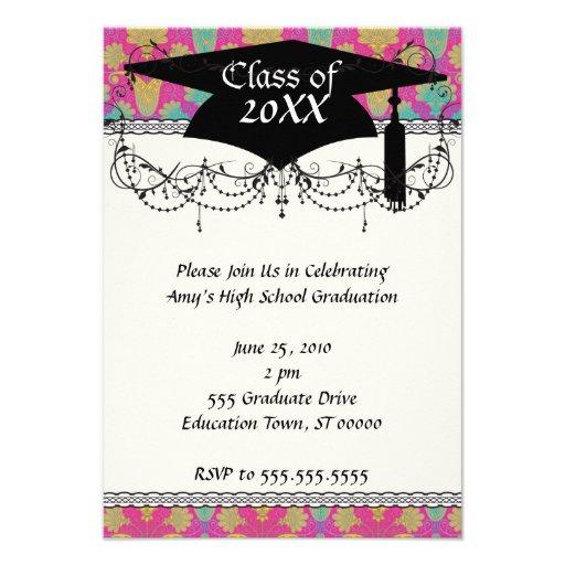 kinda hippie damask graduation personalized invitations