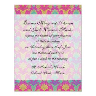 kinda hippie damask 11 cm x 14 cm invitation card