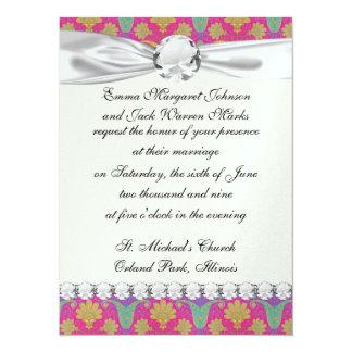 kinda hippie damask 5.5x7.5 paper invitation card