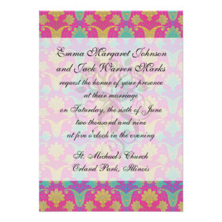 kinda hippie damask personalized announcements