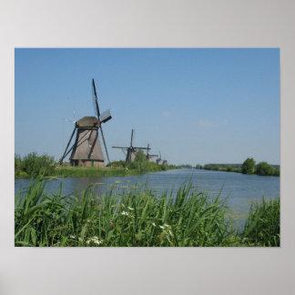Kinderdijk Windmills Poster Print
