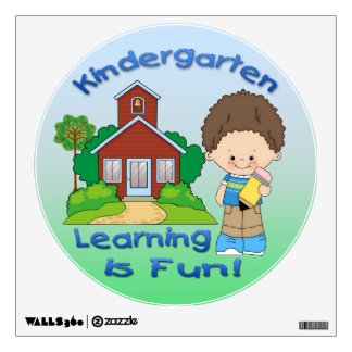 Kindergarten Boy Learning is Fun Round Wall Decal