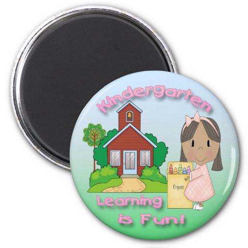 Kindergarten Ethnic Girl Learning is Fun Rd Magnet