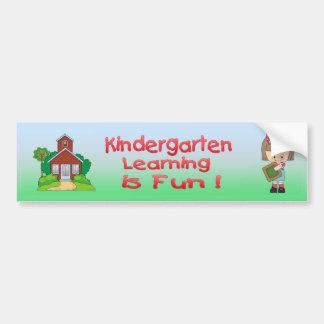 Kindergarten Girl Learning is Fun Bumper Sticker Car Bumper Sticker
