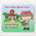 Kindergarten Girl Learning is Fun Mouse Pad