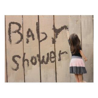 Kindergarten Girl Painting Fence Baby Shower Postcard