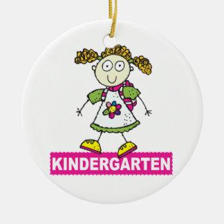 Kindergarten Girl Round Ceramic Decoration