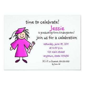 Kindergarten Graduation Invite--Girl, Pink 13 Cm X 18 Cm Invitation Card