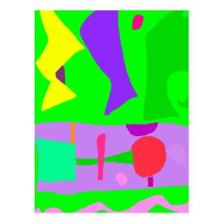 Kindergarten Pond Shrub Noise Play Family Memory Post Card