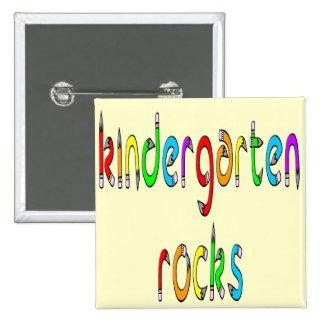 Kindergarten Rocks - Pencil Square Buttons