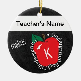 Kindergarten Rocks | School Teacher | Chalkboard Round Ceramic Decoration
