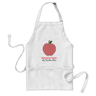 Kindergarten Teacher Apron - Red Gingham Apple