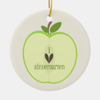 Kindergarten Teacher Ornament - Green Apple Half
