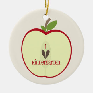 Kindergarten Teacher Ornament - Red Apple Half