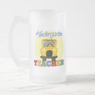 Kindergarten Teacher School Bus Frosted Glass Mug