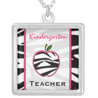 Kindergarten Teacher Zebra Print Apple Necklace