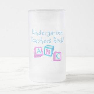Kindergarten Teachers Rock Frosted Glass Mug