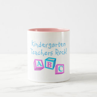 Kindergarten Teachers Rock Two-Tone Mug