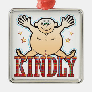Kindly Fat Man Silver-Colored Square Decoration