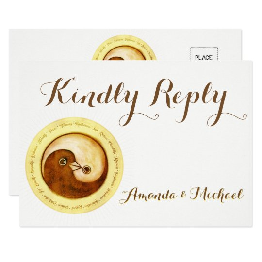 KINDLY REPLY WEDDING CARD Gold YinYang doves Harmo