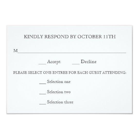 KINDLY RESPOND WEDDING RSVP 3 MENU CHOICES REPLY