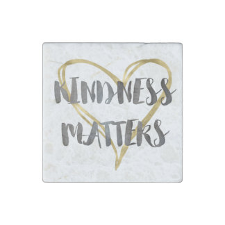 Kindness Matters Gold Heart Stone Magnet