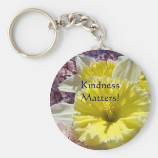 Kindness Matters! key chain Yellow Daffodil Flower