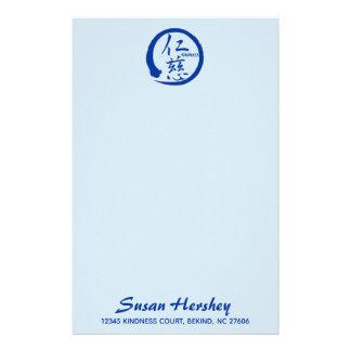 Kindness stationery   blue zen circle and kanji