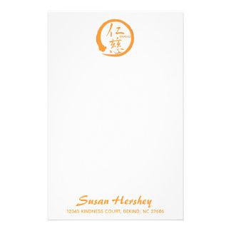 Kindness stationery   orange zen circle and kanji