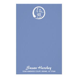 Kindness stationery   white zen circle and kanji