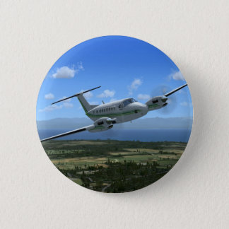 King-Air Turboprop Aircraft 6 Cm Round Badge